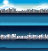 Buildings in city at day and night Stock Illustration