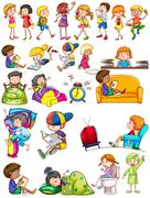 Boys and girls doing activities - stock illustration
