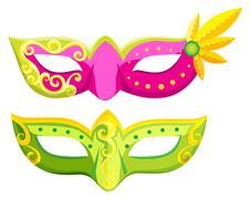 Party masks in pink and green colors - stock illustration