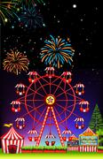 Theme park at night with firework - stock illustration