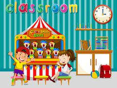 Children playing in classroom - stock illustration