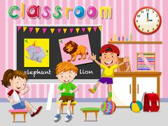 Children having fun in classroom Stock Illustration
