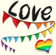 Rainbow flag and heart - stock illustration