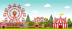 Amusement park at daytime - stock illustration