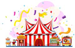 People working at the carnival - stock illustration