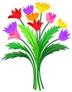 Bunch of colorful flowers - stock illustration