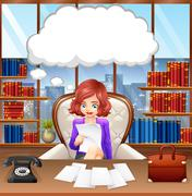 Businesswoman working in the office - stock illustration
