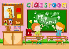 Children studying in the classroom Stock Illustration