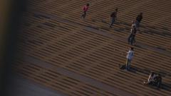 Tourists on grand staircase, Sydney Opera House steps Stock Footage