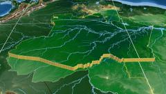 Stock Video Footage of Amazonas - Brazil region extruded. Bumps shaded