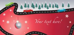 Christmas card with road and cars - stock illustration