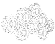 Vector Cog wheel gear mechanism close-up. White background Stock Illustration