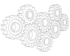 Vector Cog wheel gear mechanism close-up. White background - stock illustration