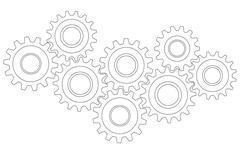 Vector Cog wheel gear mechanism close-up. White background - stock illustration