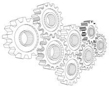 Vector Cog wheel gear mechanism close-up. White background Stock Illustration