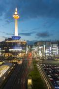 Kyoto Tower Downtown Traffic Lights Dusk Twilight - stock photo
