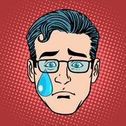 Stock Illustration of Emoji cry sadness man face icon symbol