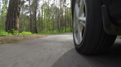 Wheel of the car goes on the forest road Stock Footage