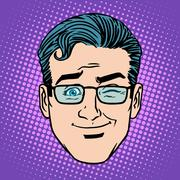 Emoji game wink man face icon symbol - stock illustration