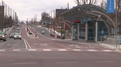 New rapid bus public transit right of way in Newmarket Ontario - stock footage