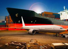 air freight ,cargo plane loading trading goods in airport container parking l - stock photo
