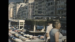 Vintage 16mm film, 1955, Italy, Camogli beach and hotels, montage Stock Footage