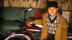 Boy With Brand New Bike For Christmas-1962 Vintage 8mm film Stock Footage