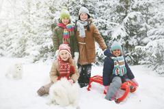 Winter play Stock Photos