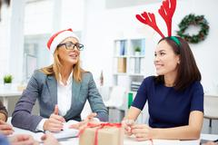 Meeting on Christmas eve Stock Photos