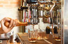 coffee machine preparing cup of coffee - stock photo