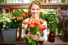 Vendor of fresh flowers Stock Photos