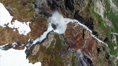 Aerial top-down footage of picturesque tall waterfall in Norway, aerial footage Stock Footage