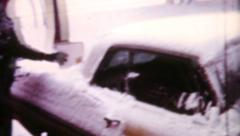 Little Boy Brushing Snow Off The Car In Winter-1962 Vintage 8mm film Stock Footage