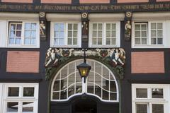 Stock Photo of Entrance facade Walhalla half timbered house historic centre Osnabruck Lower
