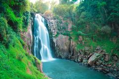 Beautiful deep forest waterfall at Haew narok waterfall, khao yai national pa - stock photo
