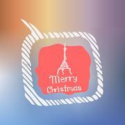 Eiffel tower white icon Doodle Christmas - stock illustration