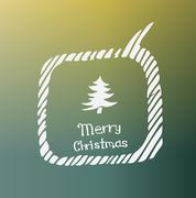 pine white icon Doodle Christmas - stock illustration