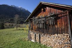 Huinzen drying racks hanging on a woodshed Hinterstein Allgau Bavaria Germany - stock photo