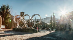 Whistler Village - Whistler Olympic Plaza - stock footage