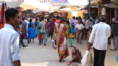 Indian people visit the holy city. Pushkar, India - stock footage