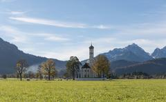 Pilgrimage church of St Coloman Schwangau Fussen Ostallgaeu Allgau Swabia - stock photo