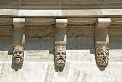Masks, grotesque masks, the Pont Neuf in detail (Paris France) Stock Photos