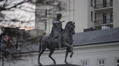 Statue of Prince Jozef Poniatowski in Warsaw Stock Footage
