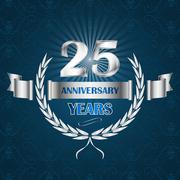 25 year anniversary emblem with ribbon and laurel wreath. - stock illustration