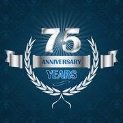 75 year anniversary emblem with ribbon and laurel wreath. - stock illustration