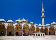 The inner courtyard of Suleymaniye Mosque, Istanbul - stock photo