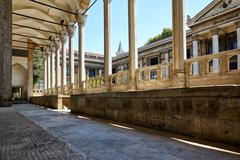 The view of portico roofed colonnaded terrace of The Tiled Kiosk. Istanbul - stock photo