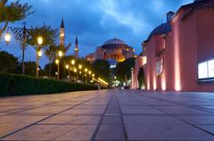 The night view of Hagia Sophia from Sultan Ahmet Park, Istanbul Stock Photos
