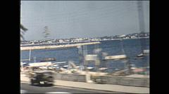Vintage 16mm film, 1955, France POV window bus ride Stock Footage