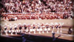 Cheerleaders Entertaining Football Game Crowd-1962 Vintage 8mm film Stock Footage